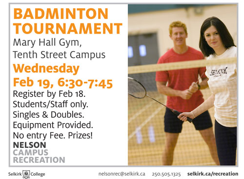 Badminton Tournament, Mary Hall Gym, Nelson