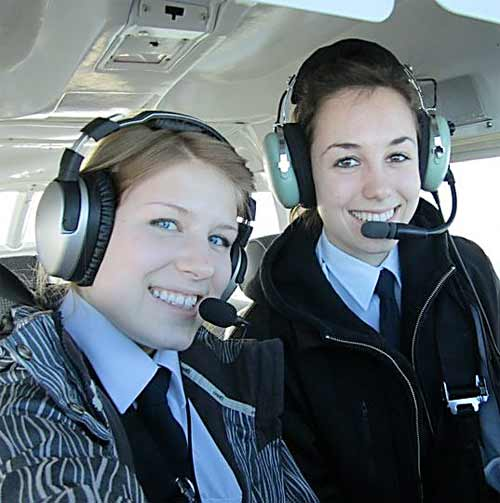 Aviation program grad Allie Paterson in the air